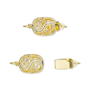 clasp, tab, gold-plated brass, 12x9mm filigree oval. sold per pkg of 4.