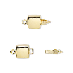 clasp, tab, gold-plated brass, 8x8mm flat puffed square. sold per pkg of 2.