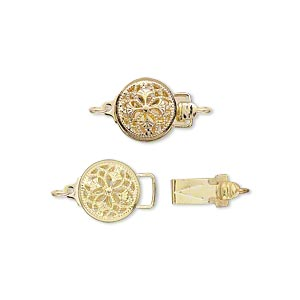 clasp, tab, gold-plated brass, 9mm round with flower. sold per pkg of 2.