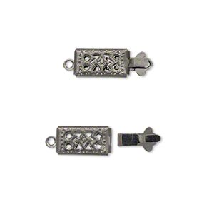 clasp, tab, gunmetal-plated brass, 11x6mm double-sided filigree rectangle. sold per pkg of 10.