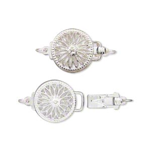 clasp, tab, silver-plated brass, 12mm filigree round. sold individually.