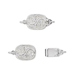 clasp, tab, silver-plated brass, 12x9mm filigree s design oval. sold per pkg of 4.