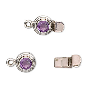 clasp, tab, sterling silver and amethyst (natural), 5mm faceted round, 11mm round. sold individually.