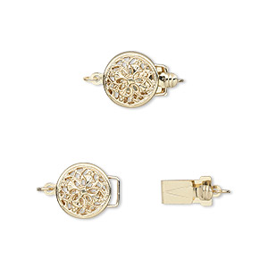 clasp, tab with safety, 14kt gold, 9mm round with flower design. sold individually.