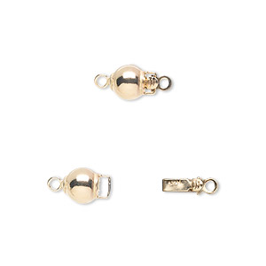 clasp, tab with safety, 14kt gold-filled, 6mm round. sold individually.