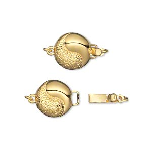 clasp, tab with safety, gold-plated brass, 11mm double-sided textured flat round with yin-yang design. sold individually.