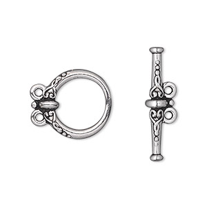 clasp, tierracast, 2-strand toggle, antique silver-plated pewter (tin-based alloy), 15.5mm fancy round. sold individually.