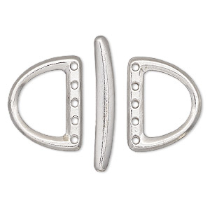 clasp, tierracast, 5-strand toggle, rhodium-finished pewter (tin-based alloy), 24x19mm d-ring. sold per 3-piece set.