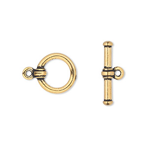 clasp, tierracast, toggle, antique gold-plated pewter (tin-based alloy), 13mm round with cuff design. sold individually.