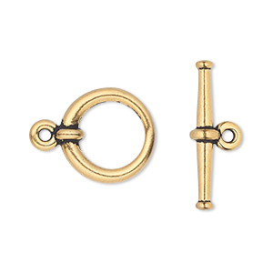 clasp, tierracast, toggle, antique gold-plated pewter (tin-based alloy), 16.5mm tapered round. sold individually.