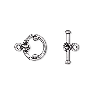 clasp, tierracast, toggle, antique silver-plated pewter (tin-based alloy), 12mm fancy round. sold individually.