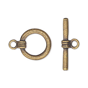 clasp, toggle, antique brass-plated pewter (tin-based alloy), 16mm round with banded design. sold per pkg of 2.