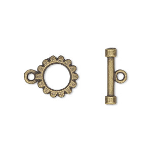 clasp, toggle, antique brass-plated pewter (zinc-based alloy), 12mm round. sold per pkg of 10.