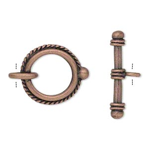 clasp, toggle, antique copper-finished pewter (zinc-based alloy), 18mm double-sided twisted rope round. sold per pkg of 4.