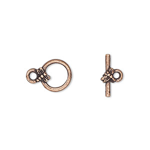 clasp, toggle, antique copper-plated pewter (tin-based alloy), 10mm round with dragonfly. sold per pkg of 4.