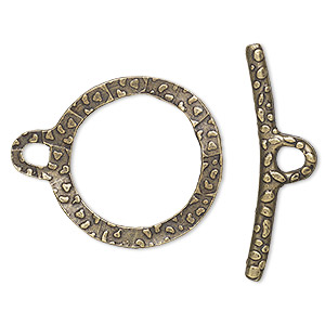 clasp, toggle, antique gold-finished brass, 26mm double-sided hammered wavy open round. sold per pkg of 2.