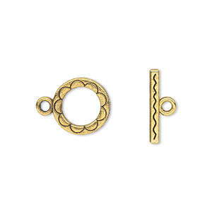 clasp, toggle, antique gold-finished pewter (zinc-based alloy), 12mm double-sided round. sold per pkg of 20.