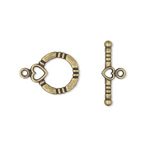 clasp, toggle, antique gold-plated brass, 14x13mm round with heart. sold per pkg of 10.