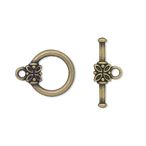 clasp, toggle, antique gold-plated pewter (zinc-based alloy), 14mm round with flower. sold per pkg of 10.