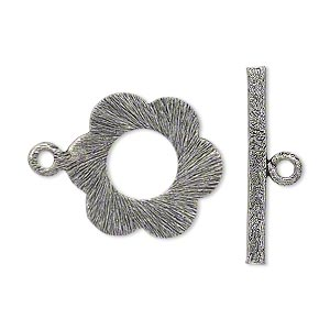 clasp, toggle, antique silver-plated copper, 21x19mm double-sided textured flower. sold per pkg of 4.