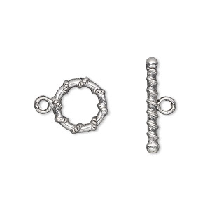 clasp, toggle, antique silver-plated pewter (zinc-based alloy), 11mm double-sided round with rope design. sold per pkg of 20.