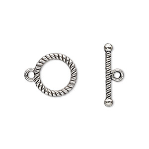 clasp, toggle, antique silver-plated pewter (zinc-based alloy), 13mm double-sided round with rope design. sold per pkg of 500.