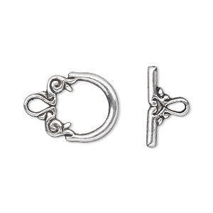 clasp, toggle, antique silver-plated pewter (zinc-based alloy), 15x14mm double-sided fancy round. sold per pkg of 20.
