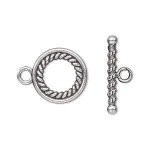 clasp, toggle, antique silver-plated pewter (zinc-based alloy), 16mm double-sided fancy twisted roped round. sold per pkg of 10.