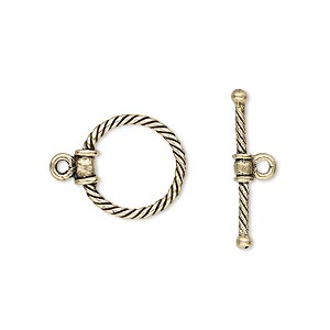 clasp, toggle, antiqued brass, 15x14mm twisted round. sold individually.