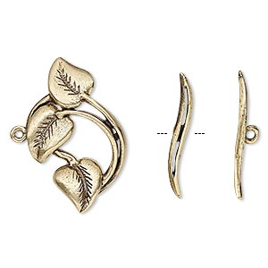 clasp, toggle, antiqued brass, 26x16mm leaves. sold individually.
