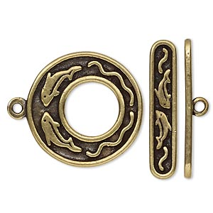 clasp, toggle, antiqued brass-plated pewter (tin-based alloy), 24.5mm go-go with dolphin design. sold individually.