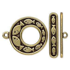 clasp, toggle, antiqued brass-plated pewter (tin-based alloy), 24.5mm go-go with fish design. sold individually.