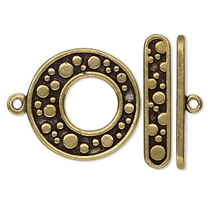 clasp, toggle, antiqued brass-plated pewter (tin-based alloy), 24.5mm go-go with bubble design. sold individually.
