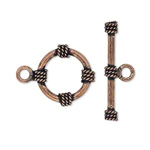 clasp, toggle, antiqued copper, 18mm round with rope design. sold per pkg of 4.