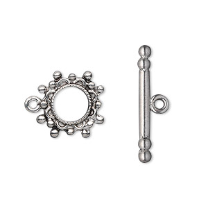 clasp, toggle, antiqued pewter (tin-based alloy), 13mm studded round. sold per pkg of 2.