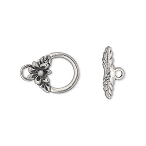 clasp, toggle, antiqued pewter (tin-based alloy), 16x12mm round with flower and leaf. sold per pkg of 3.