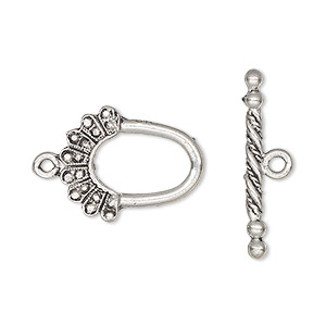clasp, toggle, antiqued pewter (tin-based alloy), 20x16mm oval. sold per pkg of 2.