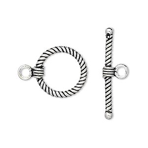 clasp, toggle, antiqued sterling silver, 15mm twisted round. sold individually.