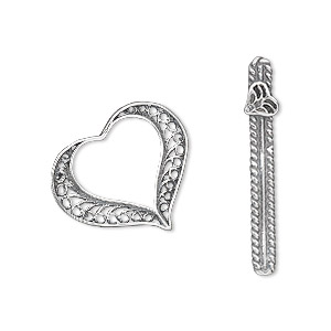clasp, toggle, antiqued sterling silver, 20x18mm heart with filigree pattern. sold individually.