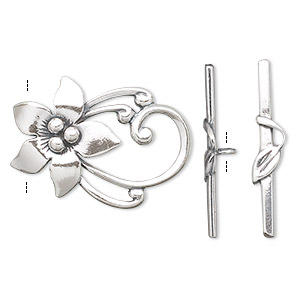 clasp, toggle, antiqued sterling silver, 30x22mm flower, one loop. sold individually.