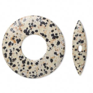 clasp, toggle, dalmatian jasper (natural), 45x6mm donut, 38x10mm bar, b grade, mohs hardness 6-1/2 to 7. sold individually.