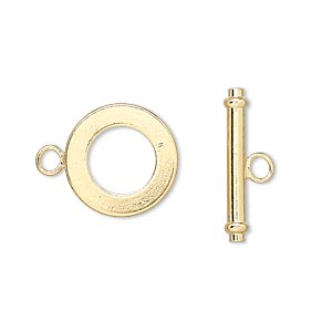 clasp, toggle, gold-finished brass, 15mm smooth round. sold per pkg of 100.