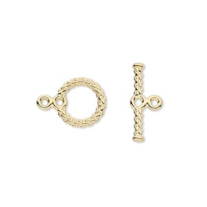 clasp, toggle, gold-plated brass, 10mm textured woven round with loops. sold per pkg of 100.