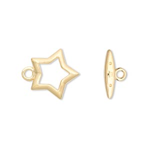 clasp, toggle, gold-plated brass, 15x15mm star. sold per pkg of 10.