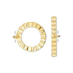 clasp, toggle, gold-plated brass, 18mm double-sided corrugated round. sold individually.