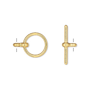 clasp, toggle, gold-plated pewter (zinc-based alloy), 12mm smooth round. sold per pkg of 10.