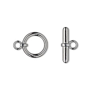 clasp, toggle, gunmetal-plated brass, 13mm smooth round. sold per pkg of 10.