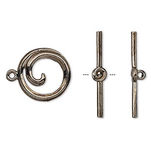 clasp, toggle, gunmetal-plated brass, 15.5mm round swirl. sold individually.