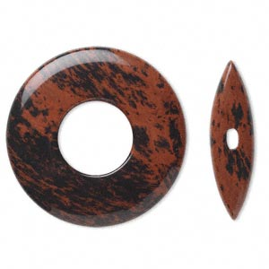 clasp, toggle, mahogany obsidian (natural), 45x6mm round donut with 38x10mm bar, b grade, mohs hardness 5 to 5-1/2. sold individually.
