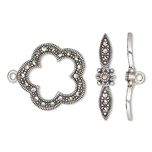 clasp, toggle, marcasite (natural) and antiqued sterling silver, 20x19mm single-sided fancy flower. sold individually.